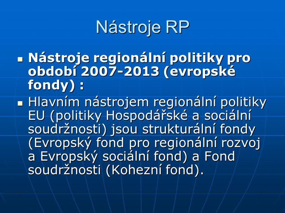 Nástroje RP Nástroje regionální politiky pro období 2007-2013 (evropské fondy) : Nástroje regionální politiky pro období 2007-2013 (evropské fondy) :