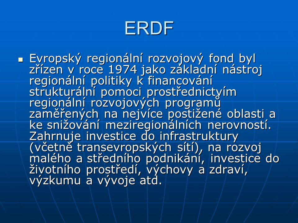 ERDF Evropský regionální rozvojový fond byl zřízen v roce 1974 jako základní nástroj regionální politiky k financování strukturální pomoci prostřednic