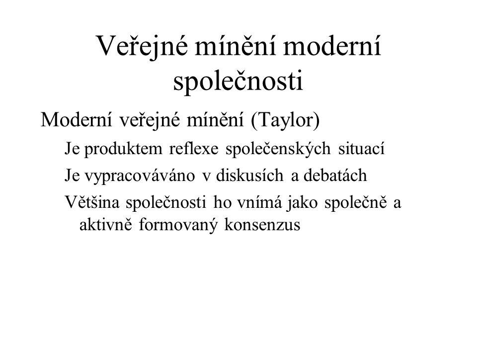 Veřejné mínění moderní společnosti Moderní veřejné mínění (Taylor) Je produktem reflexe společenských situací Je vypracováváno v diskusích a debatách Většina společnosti ho vnímá jako společně a aktivně formovaný konsenzus