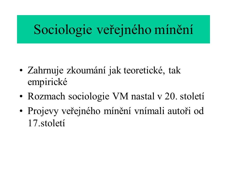 Sociologie veřejného mínění Zahrnuje zkoumání jak teoretické, tak empirické Rozmach sociologie VM nastal v 20.