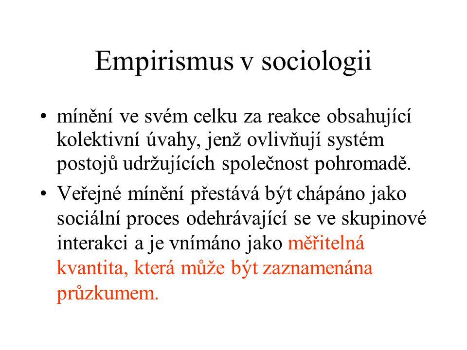 Empirismus v sociologii mínění ve svém celku za reakce obsahující kolektivní úvahy, jenž ovlivňují systém postojů udržujících společnost pohromadě.