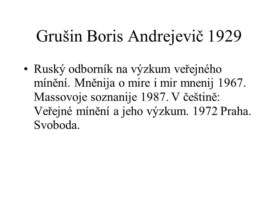 Grušin Boris Andrejevič 1929 Ruský odborník na výzkum veřejného mínění.