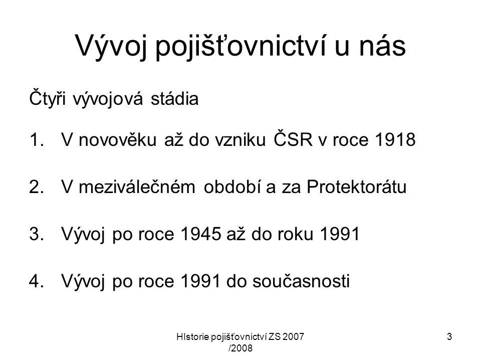 HIstorie pojišťovnictví ZS 2007 /2008 4 V novověku až do vzniku ČSR Vývoj pojišťovnictví na území dnešní ČR nelze oddělit od celkového politického a hospodářského vývoje na tomto území od 15.