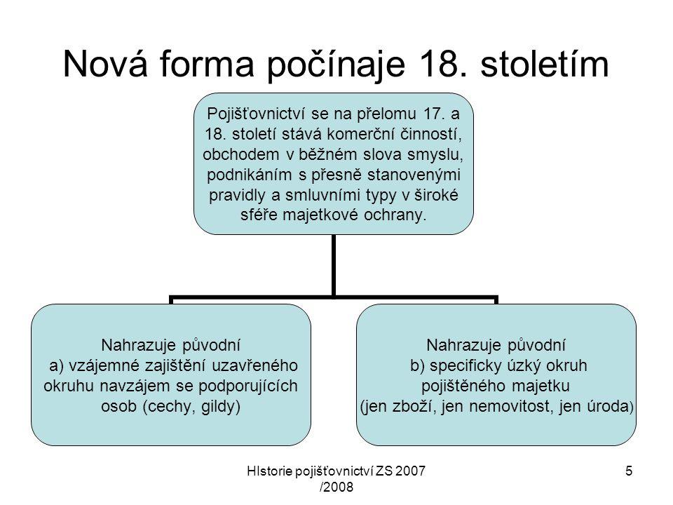 HIstorie pojišťovnictví ZS 2007 /2008 5 Nová forma počínaje 18. stoletím Pojišťovnictví se na přelomu 17. a 18. století stává komerční činností, obcho