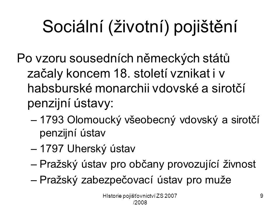 HIstorie pojišťovnictví ZS 2007 /2008 20 Od přelomu století do r.