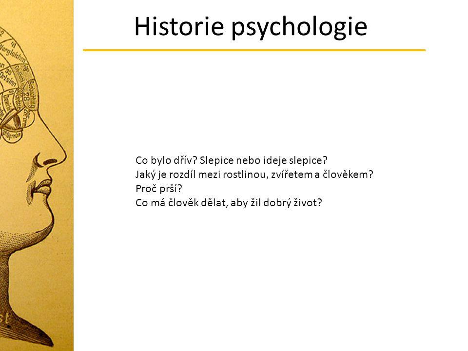 Historie psychologie Co bylo dřív? Slepice nebo ideje slepice? Jaký je rozdíl mezi rostlinou, zvířetem a člověkem? Proč prší? Co má člověk dělat, aby