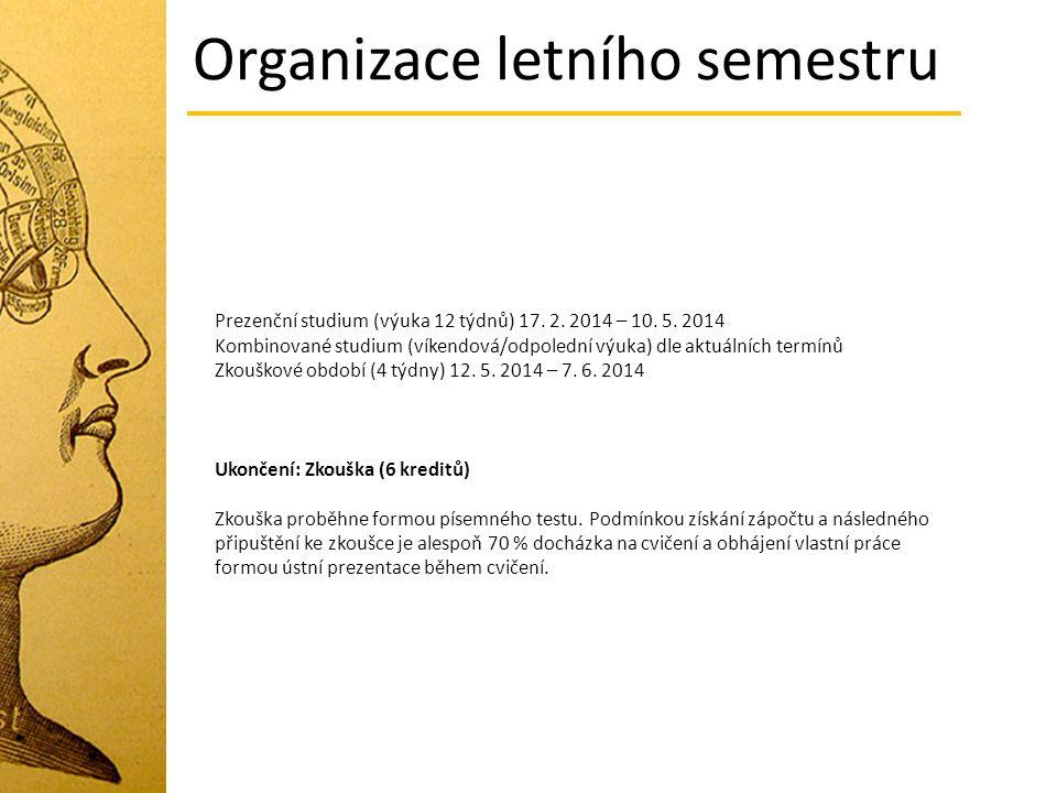 Prezenční studium (výuka 12 týdnů) 17. 2. 2014 – 10. 5. 2014 Kombinované studium (víkendová/odpolední výuka) dle aktuálních termínů Zkouškové období (