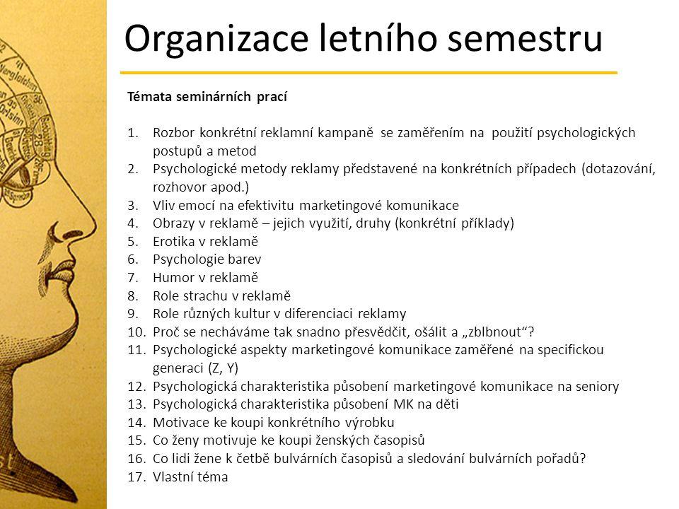 Témata seminárních prací 1.Rozbor konkrétní reklamní kampaně se zaměřením na použití psychologických postupů a metod 2.Psychologické metody reklamy př