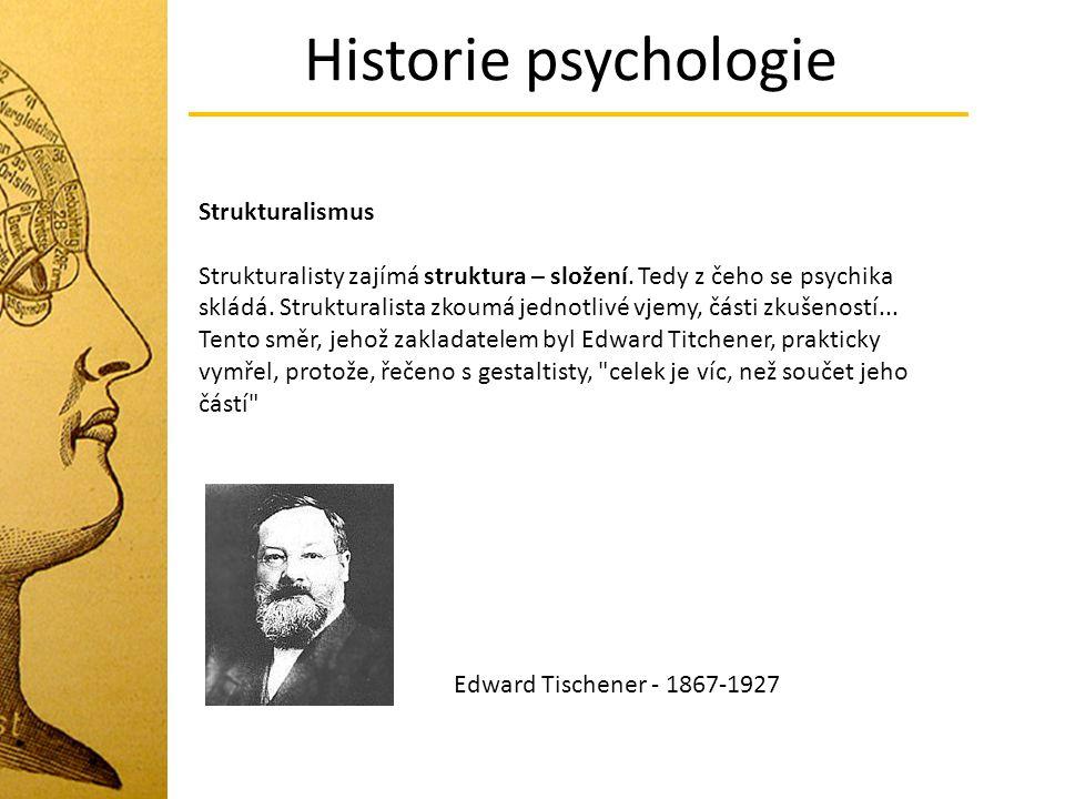 Historie psychologie Strukturalismus Strukturalisty zajímá struktura – složení. Tedy z čeho se psychika skládá. Strukturalista zkoumá jednotlivé vjemy