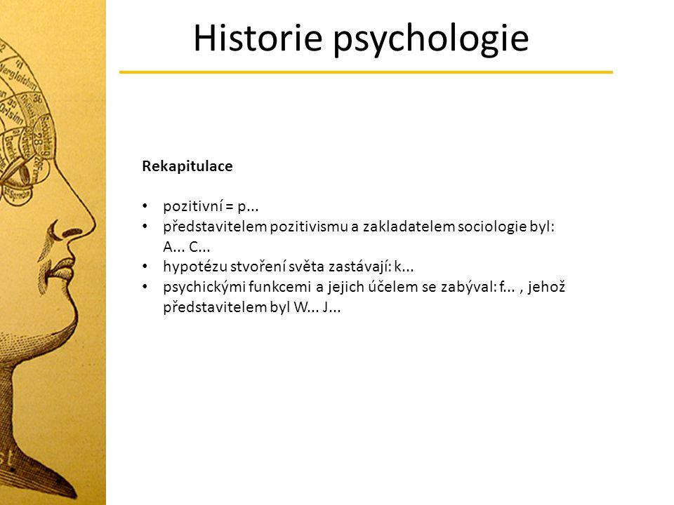 Historie psychologie Rekapitulace pozitivní = p... představitelem pozitivismu a zakladatelem sociologie byl: A... C... hypotézu stvoření světa zastáva