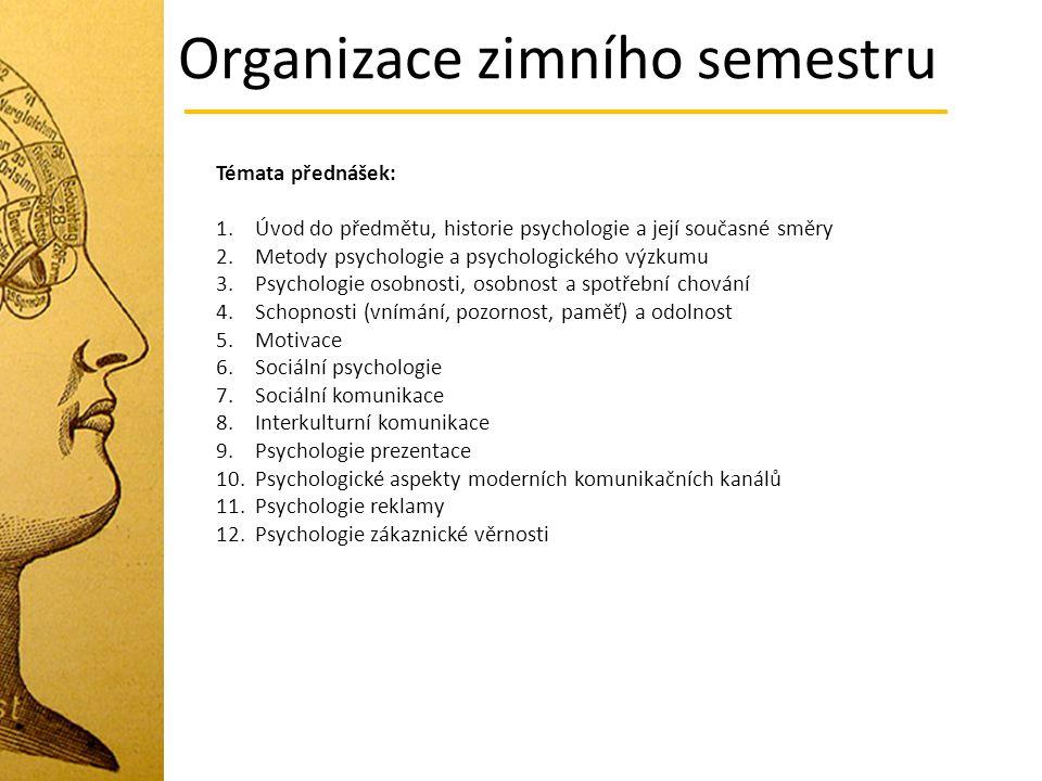 Organizace zimního semestru Témata přednášek: 1.Úvod do předmětu, historie psychologie a její současné směry 2.Metody psychologie a psychologického vý