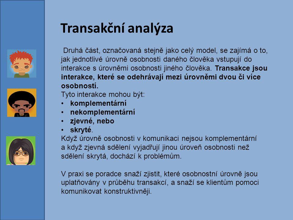 Transakční analýza Druhá část, označovaná stejně jako celý model, se zajímá o to, jak jednotlivé úrovně osobnosti daného člověka vstupují do interakce