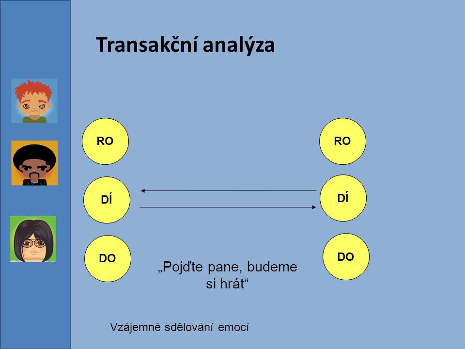 """Transakční analýza RO DÍ DO DÍ DO RO """"Pojďte pane, budeme si hrát"""" Vzájemné sdělování emocí"""