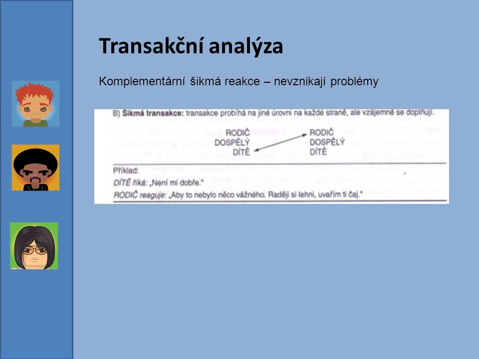 Transakční analýza Komplementární šikmá reakce – nevznikají problémy