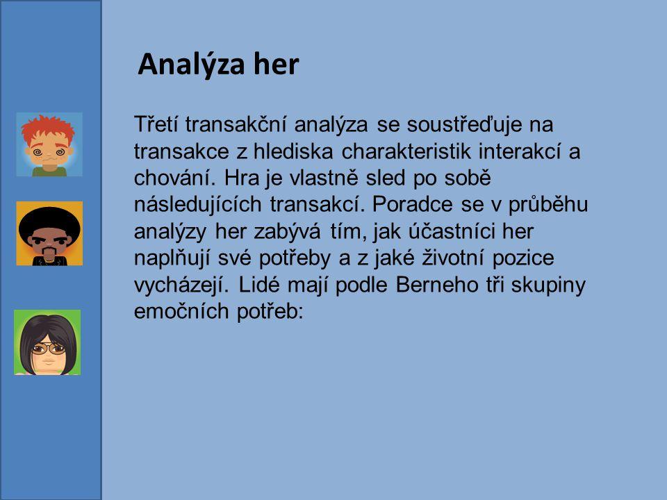 Analýza her Třetí transakční analýza se soustřeďuje na transakce z hlediska charakteristik interakcí a chování. Hra je vlastně sled po sobě následujíc
