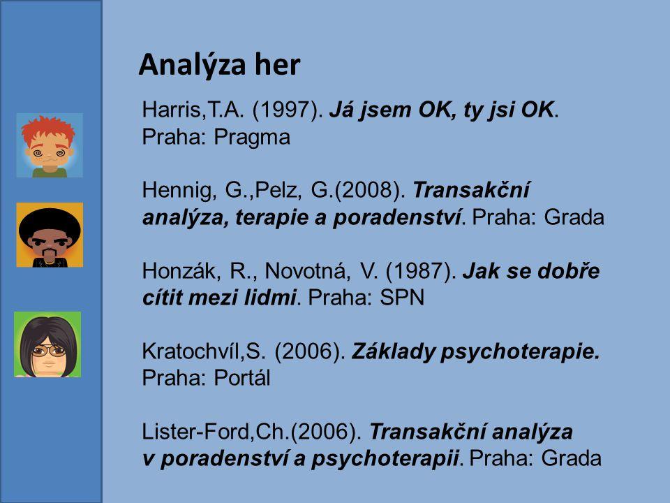 Analýza her Harris,T.A. (1997). Já jsem OK, ty jsi OK. Praha: Pragma Hennig, G.,Pelz, G.(2008). Transakční analýza, terapie a poradenství. Praha: Grad