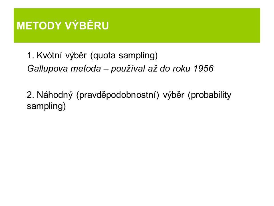 METODY VÝBĚRU 1. Kvótní výběr (quota sampling) Gallupova metoda – používal až do roku 1956 2. Náhodný (pravděpodobnostní) výběr (probability sampling)