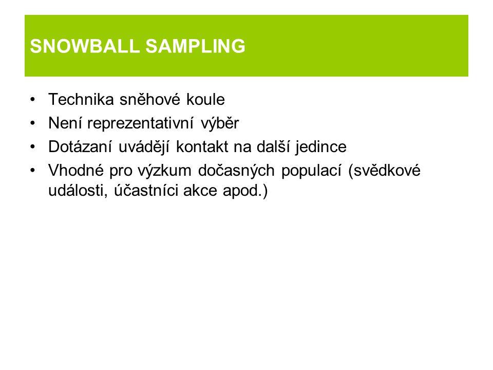 SNOWBALL SAMPLING Technika sněhové koule Není reprezentativní výběr Dotázaní uvádějí kontakt na další jedince Vhodné pro výzkum dočasných populací (sv