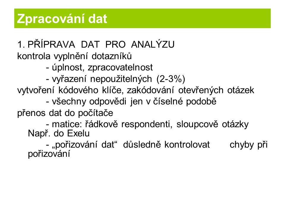 Zpracování dat 1. PŘÍPRAVA DAT PRO ANALÝZU kontrola vyplnění dotazníků - úplnost, zpracovatelnost - vyřazení nepoužitelných (2-3%) vytvoření kódového