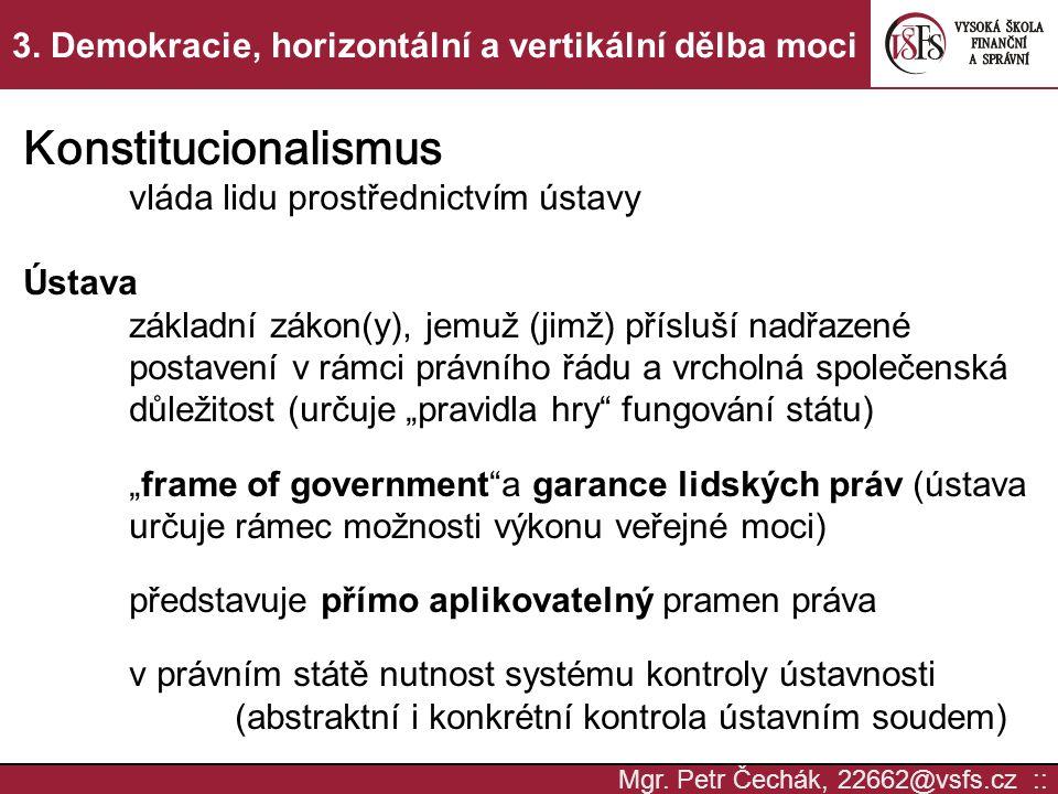Mgr. Petr Čechák, 22662@vsfs.cz :: 3. Demokracie, horizontální a vertikální dělba moci Konstitucionalismus vláda lidu prostřednictvím ústavy Ústava zá