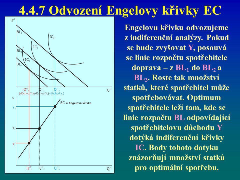 4.4.7 Odvození Engelovy křivky EC Engelovu křivku odvozujeme z indiferenční analýzy. Pokud se bude zvyšovat Y, posouvá se linie rozpočtu spotřebitele