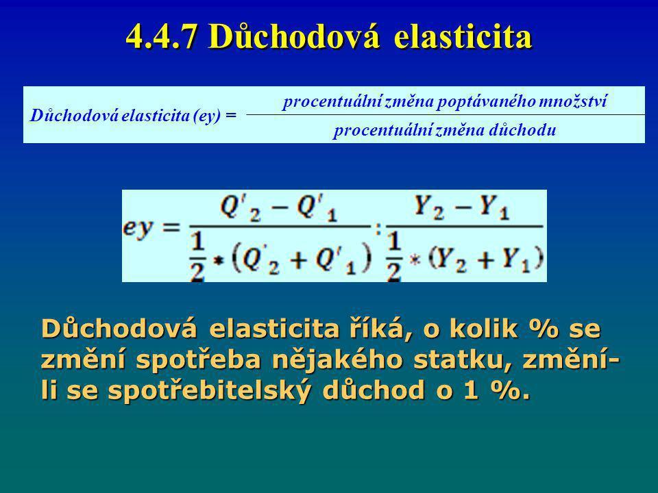 4.4.7 Důchodová elasticita Důchodová elasticita (ey) = procentuální změna poptávaného množství procentuální změna důchodu Důchodová elasticita říká, o