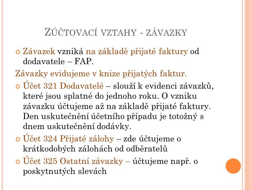 Z ÚČTOVACÍ VZTAHY - ZÁVAZKY Závazek vzniká na základě přijaté faktury od dodavatele – FAP.