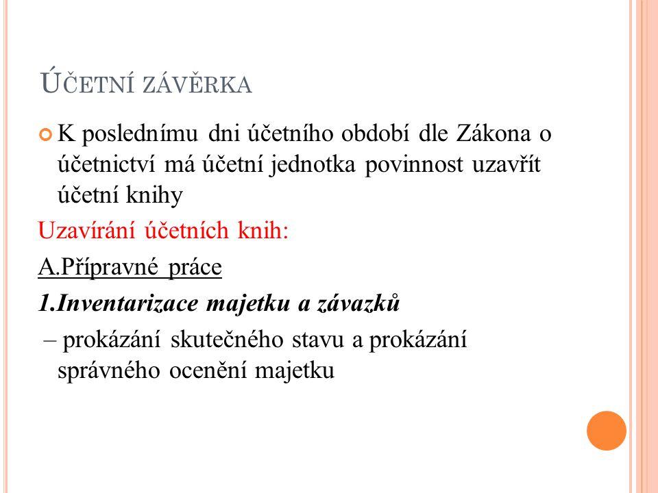 Ú ČETNÍ ZÁVĚRKA Seznam použité literatury: V.