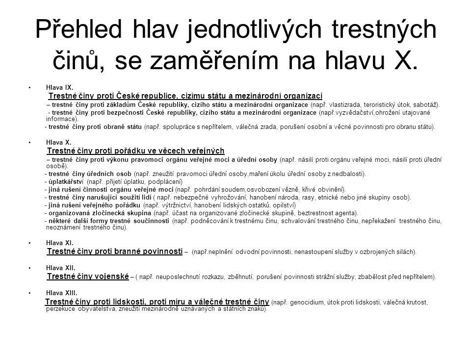 Přehled hlav jednotlivých trestných činů, se zaměřením na hlavu X. Hlava IX. Trestné činy proti České republice, cizímu státu a mezinárodní organizaci