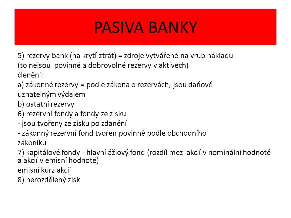 PASIVA BANKY 5) rezervy bank (na krytí ztrát) = zdroje vytvářené na vrub nákladu (to nejsou povinné a dobrovolné rezervy v aktivech) členění: a) zákonné rezervy = podle zákona o rezervách, jsou daňové uznatelným výdajem b) ostatní rezervy 6) rezervní fondy a fondy ze zisku - jsou tvořeny ze zisku po zdanění - zákonný rezervní fond tvořen povinně podle obchodního zákoníku 7) kapitálové fondy - hlavní ážiový fond (rozdíl mezi akcií v nominální hodnotě a akcií v emisní hodnotě) emisní kurz akcií 8) nerozdělený zisk