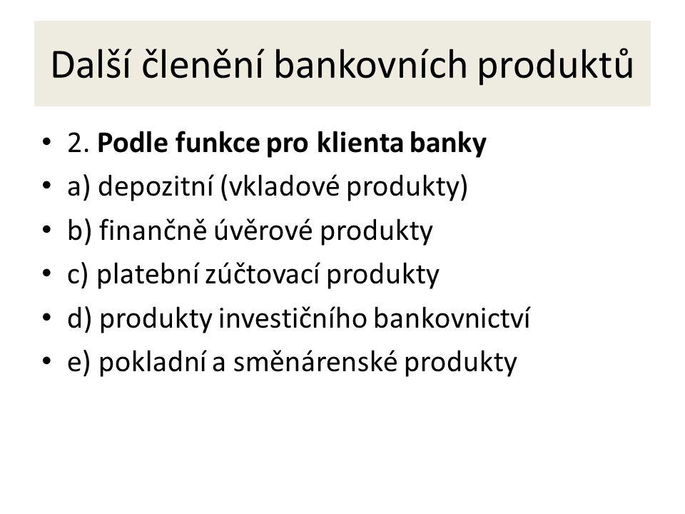 Další členění bankovních produktů 2.