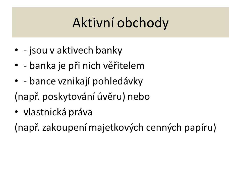 Aktivní obchody - jsou v aktivech banky - banka je při nich věřitelem - bance vznikají pohledávky (např.