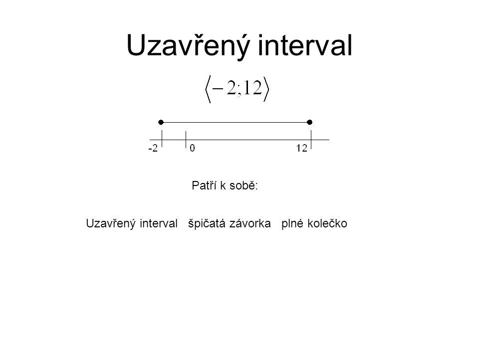 Patří k sobě: Uzavřený interval špičatá závorka plné kolečko