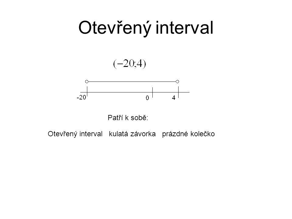 Otevřený interval Patří k sobě: Otevřený interval kulatá závorka prázdné kolečko