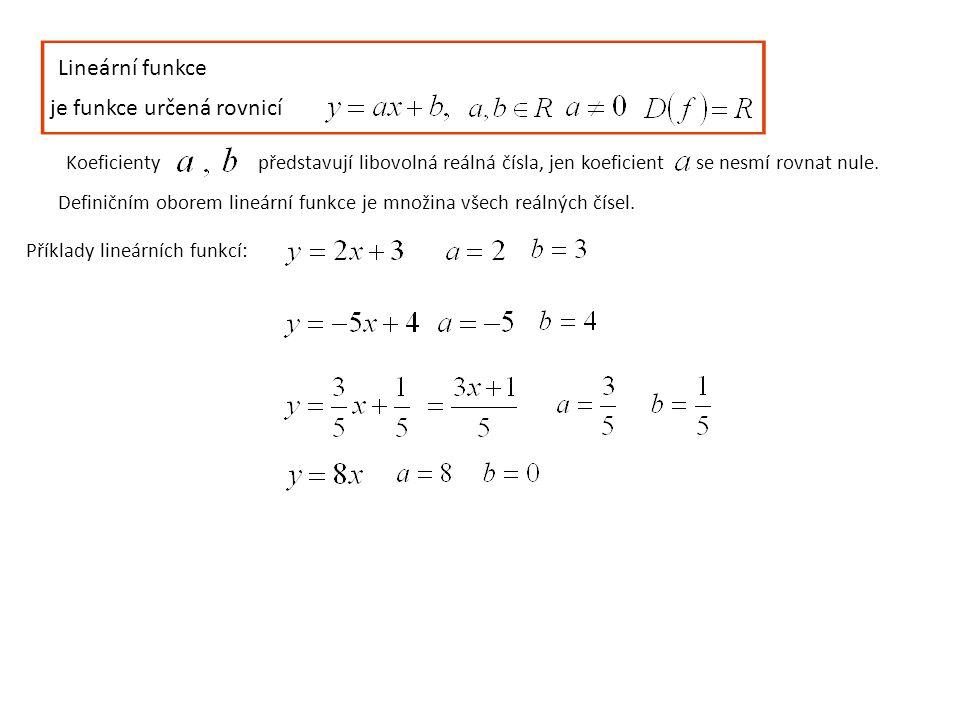 Lineární funkce je funkce určená rovnicí Koeficientypředstavují libovolná reálná čísla, jen koeficient se nesmí rovnat nule. Definičním oborem lineárn