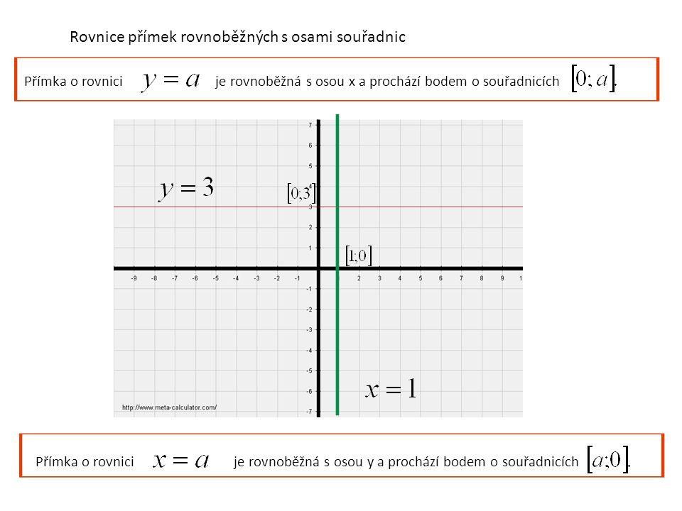 Rovnice přímek rovnoběžných s osami souřadnic Přímka o rovnici je rovnoběžná s osou x a prochází bodem o souřadnicích Přímka o rovnici je rovnoběžná s osou y a prochází bodem o souřadnicích