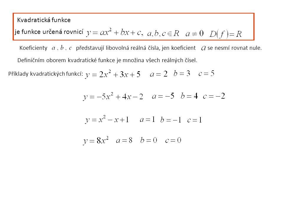 Kvadratická funkce je funkce určená rovnicí Koeficientypředstavují libovolná reálná čísla, jen koeficient se nesmí rovnat nule. Definičním oborem kvad