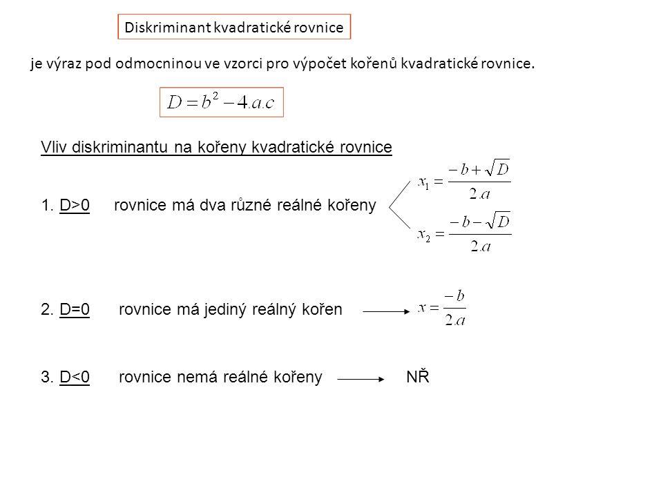 Diskriminant kvadratické rovnice je výraz pod odmocninou ve vzorci pro výpočet kořenů kvadratické rovnice.