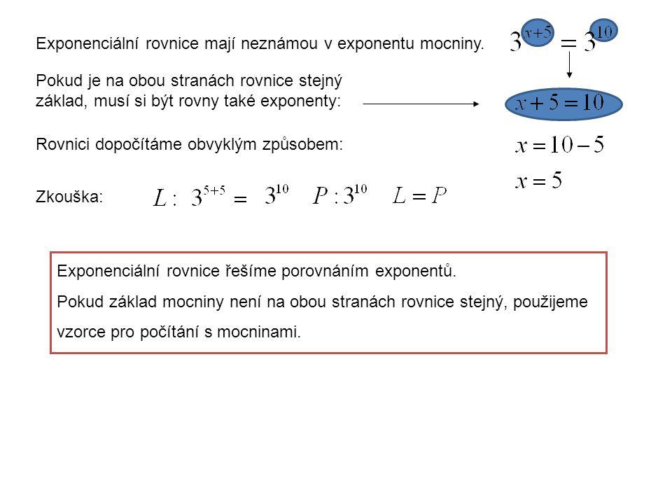Exponenciální rovnice mají neznámou v exponentu mocniny.
