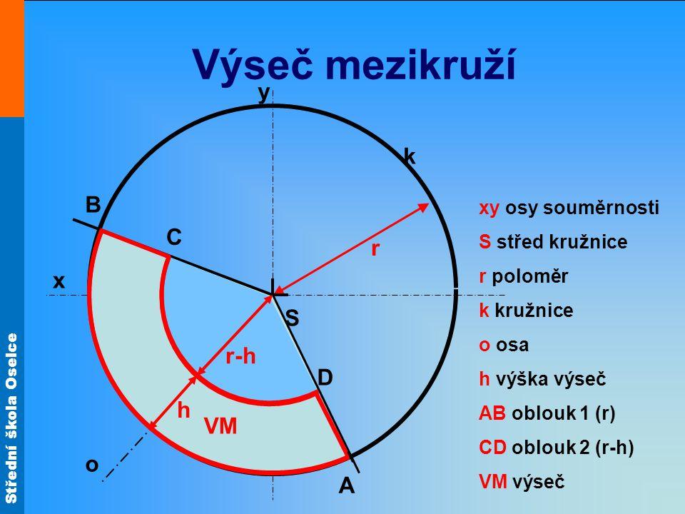 Střední škola Oselce Výseč mezikruží r k x y S xy osy souměrnosti S střed kružnice r poloměr k kružnice o osa h výška výseč AB oblouk 1 (r) CD oblouk 2 (r-h) VM výseč o B A VM α r-h C D h