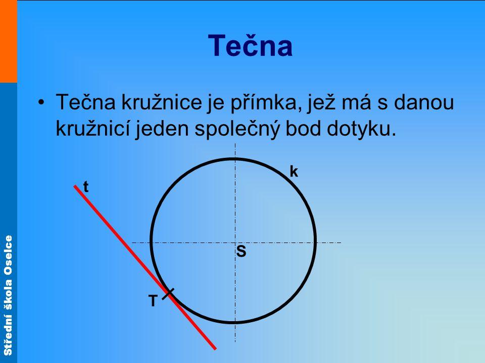 Střední škola Oselce Tečna Tečna kružnice je přímka, jež má s danou kružnicí jeden společný bod dotyku. S k T t