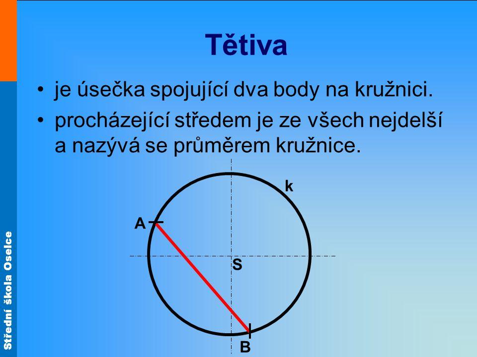 Střední škola Oselce Tětiva je úsečka spojující dva body na kružnici. procházející středem je ze všech nejdelší a nazývá se průměrem kružnice. S k B A