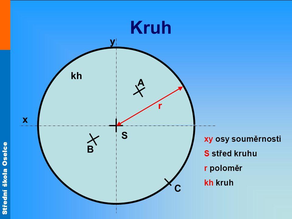 Střední škola Oselce Kruh x y S r A B C xy osy souměrnosti S střed kruhu r poloměr kh kruh kh