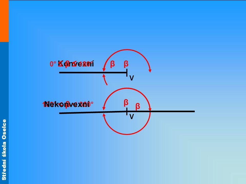 Střední škola Oselce Konvexní β 180° < β < 360° 0° ≤ β ≤ 180° β V V Nekonvexní β β
