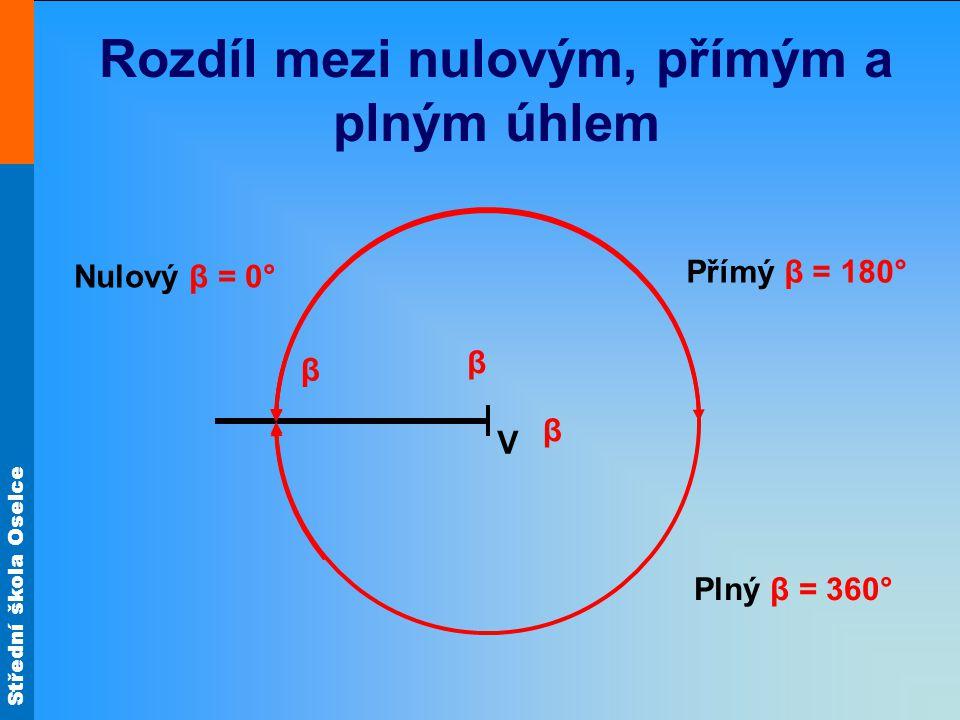 Střední škola Oselce Rozdíl mezi nulovým, přímým a plným úhlem V β Nulový β = 0° β β Přímý β = 180° Plný β = 360°