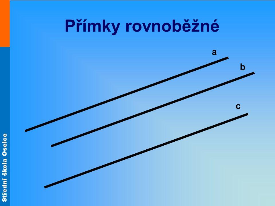 Střední škola Oselce Přímky různoběžné b c a P 1 P 2 P - průsečík