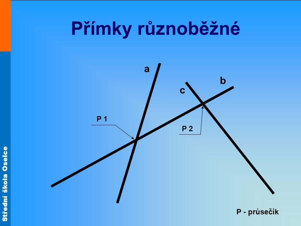 Střední škola Oselce Přímky kolmé c b a P R P – průsečík, R – pata kolmice