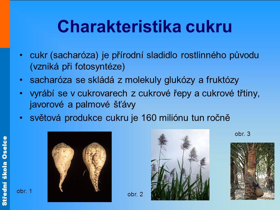 Střední škola Oselce Charakteristika cukru cukr (sacharóza) je přírodní sladidlo rostlinného původu (vzniká při fotosyntéze) sacharóza se skládá z mol