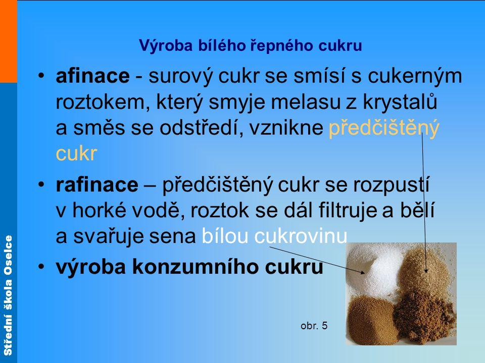 Střední škola Oselce Konzumní druhy cukru kostkový cukr – poprvé vyroben v roce 1843 v Čechách homole cukru – do konce 19.