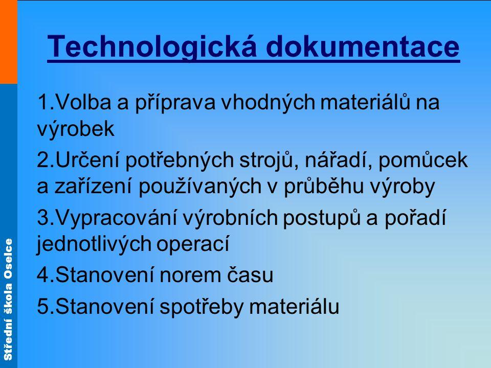 Střední škola Oselce Technologická dokumentace 1.Volba a příprava vhodných materiálů na výrobek 2.Určení potřebných strojů, nářadí, pomůcek a zařízení